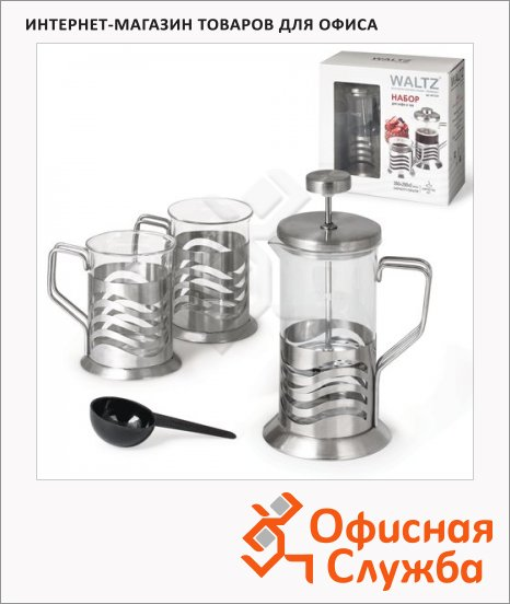 фото: Набор для заваривания чая Waltz рисунок волна френч-пресс (350мл)+2 стакана (по 200мл), стекло/нержавеющая сталь