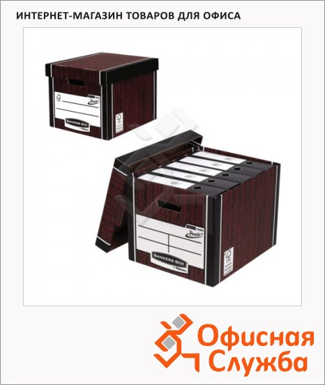 фото: Архивный короб Fellowes Bankers Box Woodgrain коричневый 325x285x385мм, с крышкой