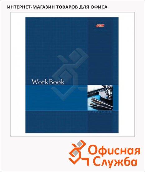 фото: Тетрадь общая Hatber WorkBook синяя А5, 96 листов, в клетку, на сшивке/склейке, мелованный картон