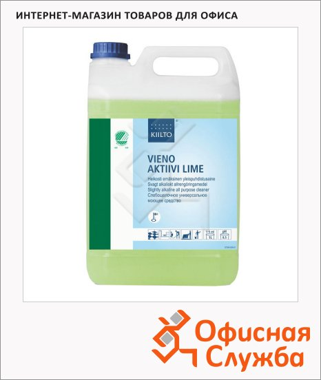 фото: Моющее средство Kiilto Vieno Aktiivi Lime 5л с ароматом лайма, для водостойких поверхностей, T7504.005
