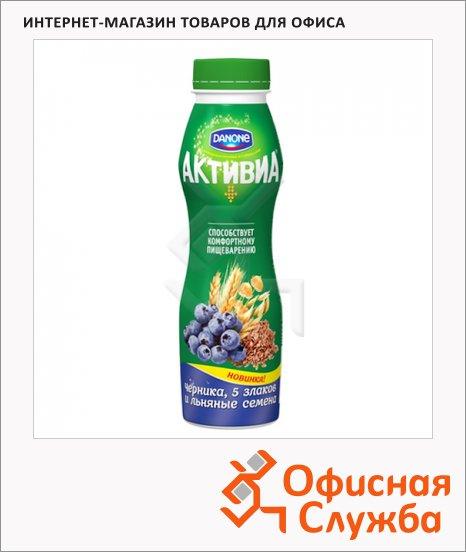 фото: Йогурт питьевой Активиа черника-злаки-семена льна 290г, 2.1%