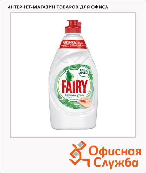 фото: Средство для мытья посуды Fairy Нежные руки 450мл гель, чайное дерево/ мята, пена-эффект