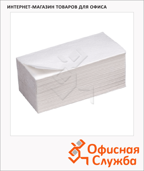 фото: Бумажные полотенца Экономика листовые белые, V укладка, 200шт, 1 слой, 261253