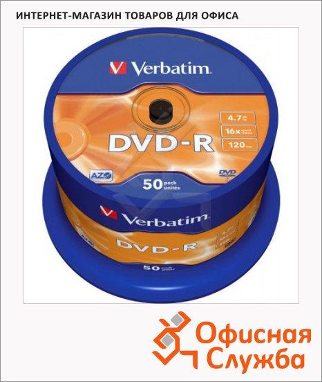 Диск DVD-R Verbatim 4.7Gb, 16х, Cake Box, 50шт/уп
