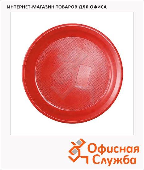 фото: Тарелка одноразовая красная d=17см, 50шт/уп
