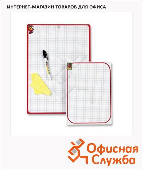 Доска планшет Attache А4 42х29.7см, пластиковая, белая в клетку, красная рама