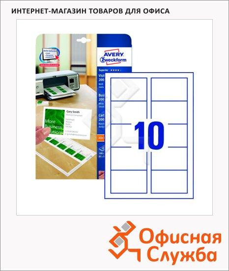 Визитные карточки Avery Zweckform Quick&Clean C32011-10, белые, 85х54мм, 200г/м2, 10шт на листе А4, 10 листов, 100шт, для всех видов печати