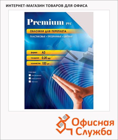 Обложки для переплета пластиковые Office Kit PSA300200 прозрачные, А3, 200 мкм, 100шт,