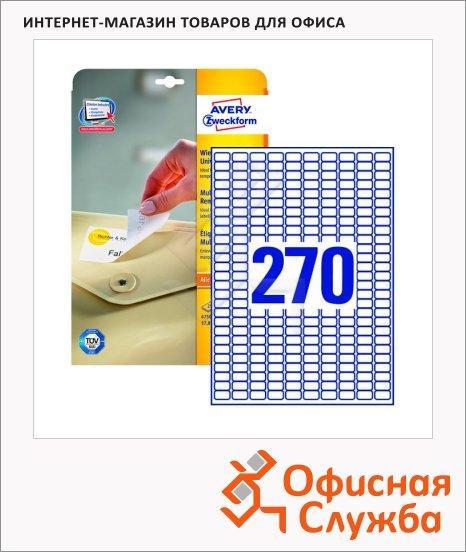Этикетки удаляемые Avery Zweckform Stick&Lift L4730REV-25, белые, 17.8х10мм, 270шт на листе А4, 25 листов, 6750шт, для всех видов печати