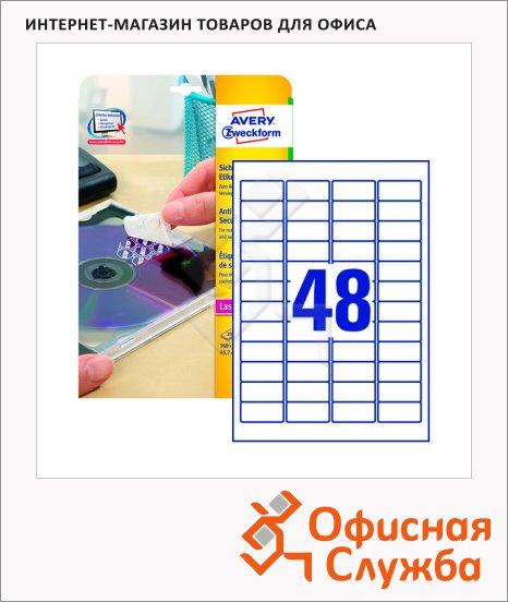 Этикетки-пломбы Avery Zweckform L6113-20, белые, 45.7х21.2мм, 48шт на листе А4, 20 листов, 960шт, для лазерной печати