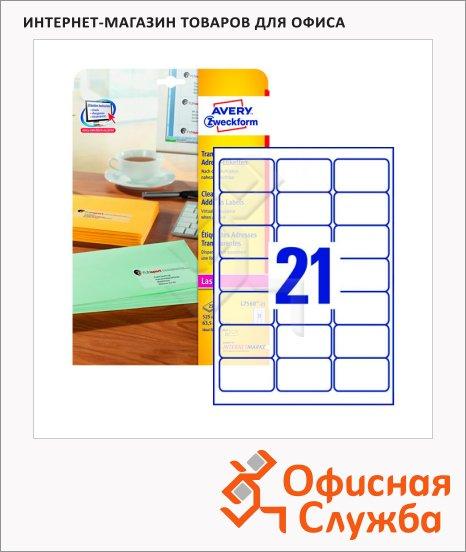 Этикетки адресные Avery Zweckform QuickPeel L7560-25, прозрачные, 63.5х38.1мм, 21шт на листе А4, 25 листов, 525шт, для копир/ цветной лазерной печати
