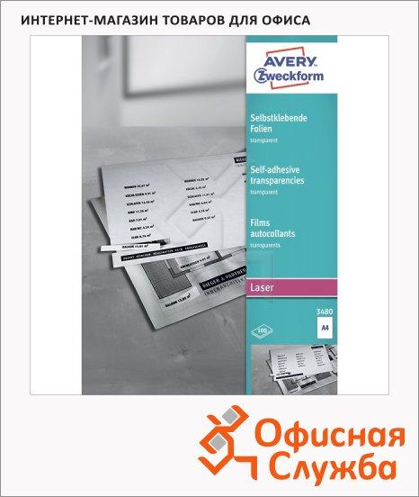 Пленка для оглавления Avery Zweckform 3480-100, прозрачная, 210x297мм, 0.14мм, 100 листов, А4, для копир/ цветной лазерной печати
