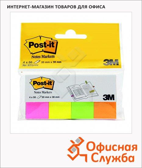 Клейкие закладки бумажные Post-It Professional 4 цвета, 20х38мм,4х50 листов, 670-4N