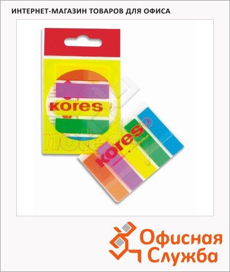 Клейкие закладки пластиковые Kores Film 5 цветов, 45х12мм, 5х25 листов, в диспенсере