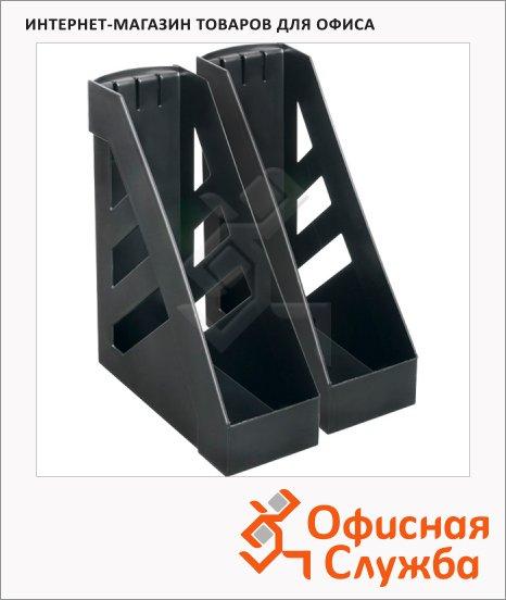 Накопитель вертикальный для бумаг Стамм А4, 100мм, черный, 2шт, ЛТ104