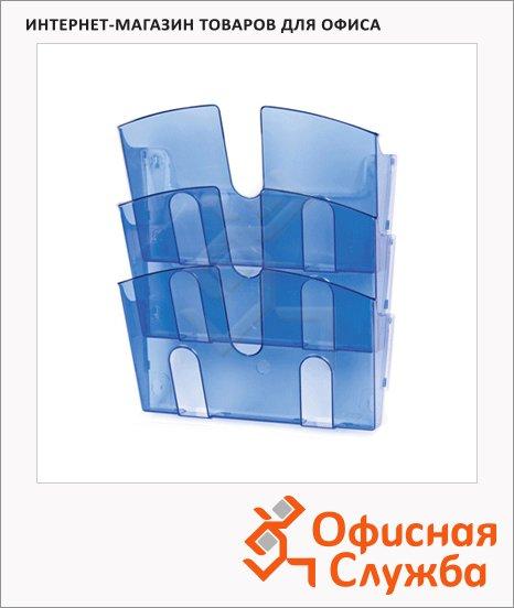 Лоток навесной для бумаг Uniplast 3 отделения, А4, 290x215x32мм, синяя
