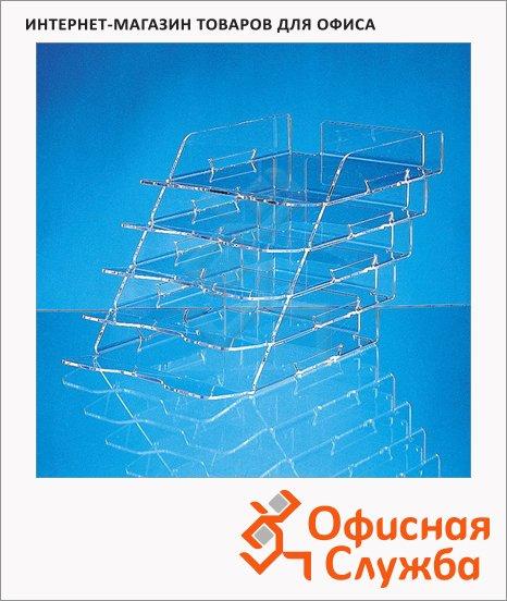 фото: Лоток горизонтальный для бумаг Лантан А4 5 секций, прозрачный, N305