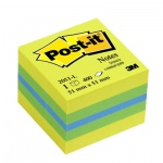 Блок для записей с клейким краем Post-It Classic 3 цвета, неон, 51х51мм, 400 листов, 2051-L