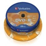 Диск DVD-R Verbatim 4.7Gb, 16х, Cake Box, 25шт/уп