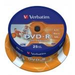 Диск DVD-R Verbatim 4.7Gb, 16x, Cake Box, 25шт/уп, Print
