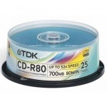 Диск CD-R Tdk 700Mb, 52x, Cake Box, 25шт/уп