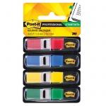 Клейкие закладки пластиковые Post-It Professional 4 цвета, 12х43мм, 4х35 листов, в диспенсере, 683-4-RU