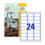 Этикетки всепогодные Avery Zweckform L4773-20, белые, 63.5х33.9мм, 24шт на листе А4, 20 листов, 480шт, для копир/ лазерной печати