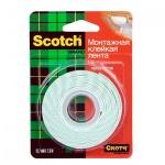 Клейкая лента монтажная Scotch Mounting Tape 12.7мм х1.9м, двусторонняя
