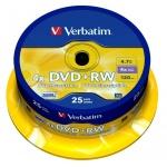 Диск DVD+RW Verbatim 4.7Gb, 4х, Cake Box, 25шт/уп