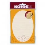 Блок для записей с клейким краем Kores желтый, пастельный, 100x150мм, 100 листов, линованный