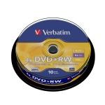 Диск DVD+RW Verbatim 4.7Gb, 4х, Cake Box, 10шт/уп