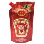 Кетчуп Heinz, 350г, пакет, острый