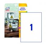 Этикетки всепогодные Avery Zweckform L4775-20, белые, 210х297мм, 1шт на листе А4, 20 листов, 20шт, для копир/ лазерной печати