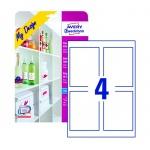 Этикетки для бутылок Avery Zweckform MD4001, белые суперглянцевые, 120х90мм, 4шт на листе А4, 5 листов, 20 шт, для струйной печати