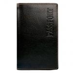 Обложка для паспорта Fabula Техас черная, натуральная кожа