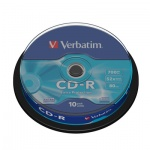 Диск CD-R Verbatim 700Mb, 52x, Cake Box, 10шт/уп