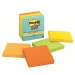 Блок для записей с клейким краем Post-It Super Sticky 5 цветов, неон, 76x76мм, 5х90 листов, 654-5SSNRP