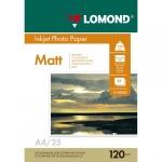 Фотобумага для струйных принтеров Lomond А4, 25 листов, 120 г/м2, матовая, 102030