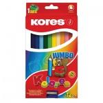 Набор цветных карандашей Kores Jumbo 12 цветов, трехгранные, с точилкой, 93512.01
