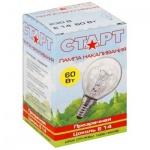 Лампа накаливания Старт 60Вт, E27, сфера