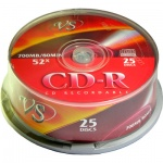 Диск CD-R Vs 700Mb, 52x, Cake Box, 25шт/уп