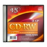 Диск CD-RW Vs 700Mb, 4-12x, Slim Case, 5шт/уп