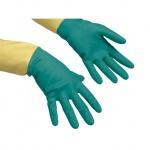 Перчатки резиновые Vileda Pro усиленные, зеленые/желтые