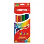 Набор цветных карандашей Kores, двухцветные, с точилкой, 24 цвета