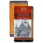 Набор чернографитных карандашей Koh-I-Noor 1502/1 Graphic HB-10H, 12шт, металлический пенал