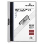 Пластиковая папка с клипом Durable Duraclip, А4, до 30 листов, серая