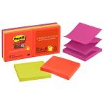 Блок для записей с клейким краем Post-It Classic 3 цвета, неон, 76х76мм, 6х90 листов, Z-блок, R330-6SSAN