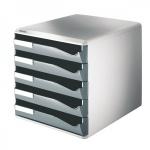 Бокс для бумаг Leitz 390x320x325мм, 5 ящиков, серый, 52800089, серый