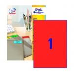 Этикетки самоклеящиеся Avery Zweckform 3470, красные, 210x297мм, 1шт на листе А4, 100 листов, 100шт,