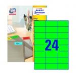 Этикетки самоклеящиеся Avery Zweckform, 24шт на листе А4, 100 листов, 2400шт, для всех видов печати, зеленый 3450